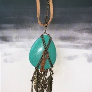 Lucky Brand Turquoise Teardrop Necklace